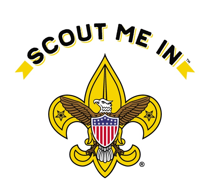 """Scouts BSA """"Scout Me In"""" logo. Scout Me In means that we support diversity and inclusion in our scout troops."""